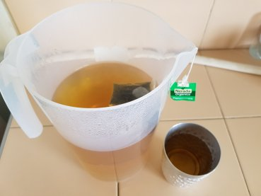 Refreshing chilled peppermint tea