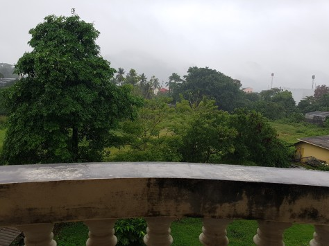 View from my back balcony - the hills shrouded in rain clouds